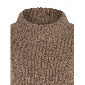 Long Sleeve Mock Neck Pullover Sweater - BEIGE ONE SIZE