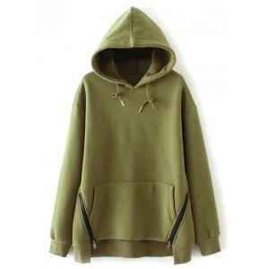 Zippered String Loose Hoodie