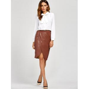 Slit Faux Leather Tulip Skirt - DARK AUBURN L