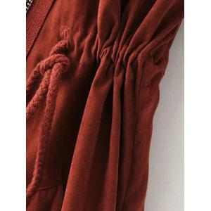 Hooded Drawstring Suede Anorak Coat -