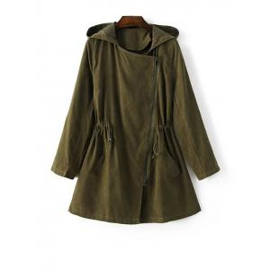 Hooded Drawstring Suede Anorak Coat