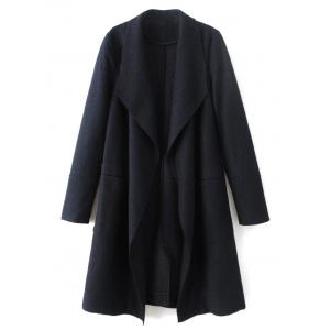 Wool Blend Turndown Collar Coat - Cadetblue - L