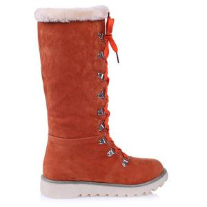 Lace Up Suede Mid-Calf Boots -