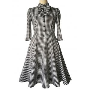 Checked Bow Sweet Heart Neck Swing Dress -