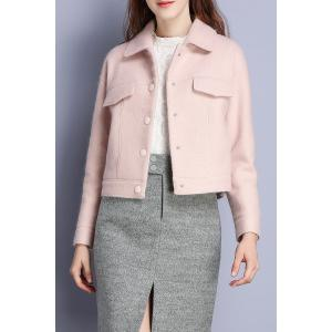 Short Wool Blend Coat - Pink - M
