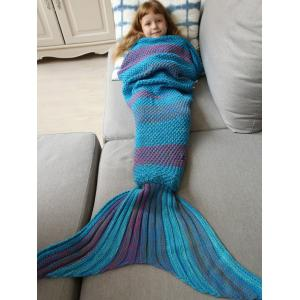 Winter Thicken Lengthen Color Block Sleeping Bag Wrap Kids Mermaid Blanket - BLUE / PURPLE