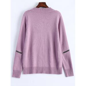 V Neck Zipper Sweater - PINK 2XL