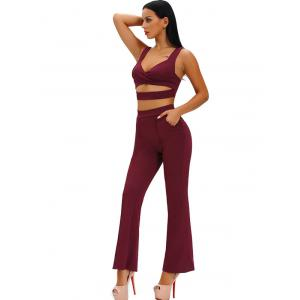 Hollow Out Crop Top With High Waist Wide Leg Pants - WINE RED L