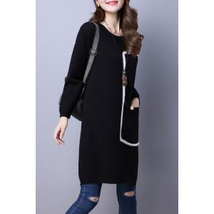 Round Neck Pocket lâche Sweater Dress - Noir M