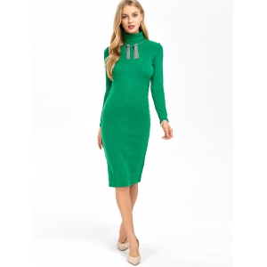 Ribbed Knit Turtleneck Sleeved Fitted Bodycon Dress -