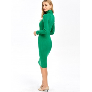 Knitted Ribbed Bodycon Polo Neck Jumper Dress - GREEN XL