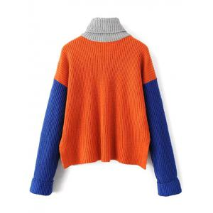 Loose Turtleneck Color Block Chunky Sweater - JACINTH ONE SIZE