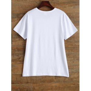 Alien Graphic Print Short Sleeve T Shirt - WHITE M