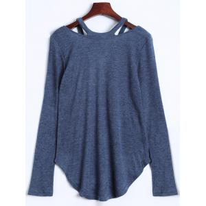 Cut Out V Neck Sweater - BLUE GRAY XL