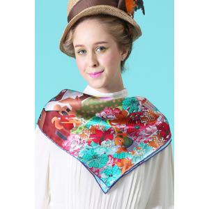 Christmas Canada Map Squirrel Square Scarf - Cyan