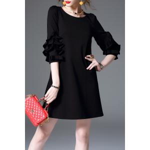Ruffle Sleeve Mini Shift Dress