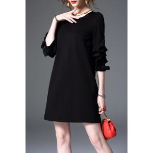 Ruffle Sleeve Mini Shift Dress -