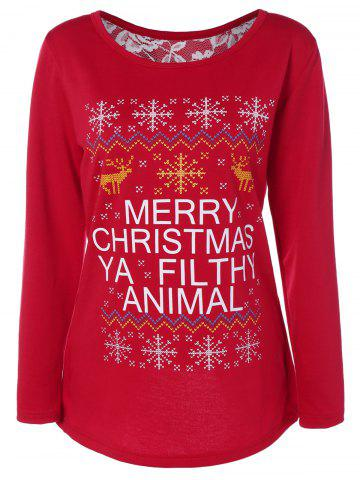 Online Back Slit Merry Christmas Print Sweatshirt RED XL