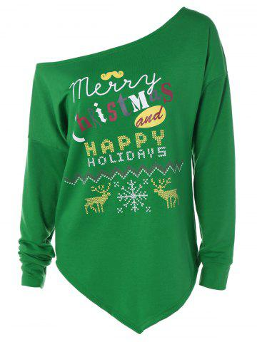 Fashion Merry Christmas Print Irregular Hem Sweatshirt GREEN XL