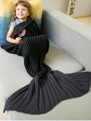 Cheap Thicken Stripe Sleeping Bag Wrap Mermaid Blanket For Kids - BLACK  Mobile