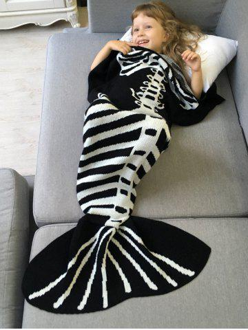 Super Soft Tricoté Blanket Fishbone enfants Wrap Halloween Mermaid Blanc et Noir