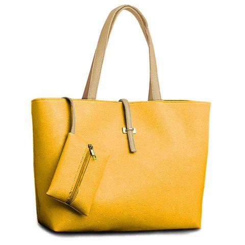 Trendy Pretty Style Candy Color and Buckle Design Women's Shoulder Bag - YELLOW  Mobile