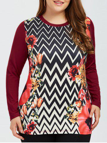 Discount Plus Size Zigzag and Floral Tee