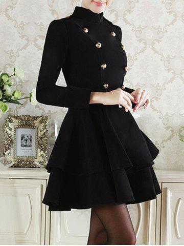 Double Breasted Sashes  Wool Full Layered Dress - BLACK M