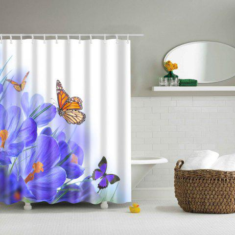 Chic Floral Butterfly Mouldproof Waterproof Bath Shower Curtain