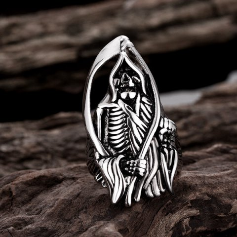 Chic Alloy Engraved Skeleton Shape Ring - 10 SILVER Mobile