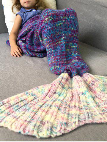 Fashion Warm and Soft Knitted Sofa Kids Mermaid Tail Blanket - M PURPLE Mobile