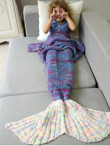 Cheap Warm and Soft Knitted Sofa Kids Mermaid Tail Blanket - M PURPLE Mobile