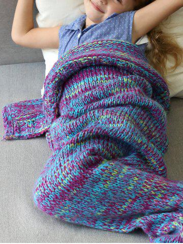 Chic Warm and Soft Knitted Sofa Kids Mermaid Tail Blanket - S PURPLE Mobile