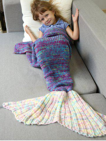 Fashion Warm and Soft Knitted Sofa Kids Mermaid Tail Blanket - S PURPLE Mobile