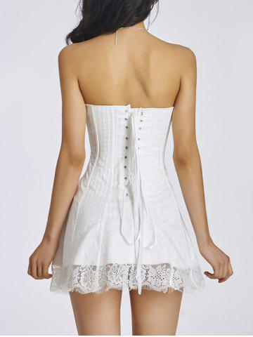 Chic Lace-Up Short Skater Corset Dress - 2XL WHITE Mobile