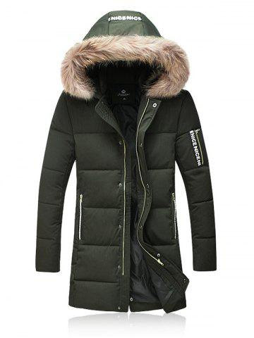 Fashion Thicken Zip Up Down Coat with Faux Fur Hood ARMY GREEN L