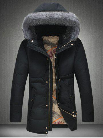 Furry Hood Thicken Padded Zip Up Down Coat - Black - M