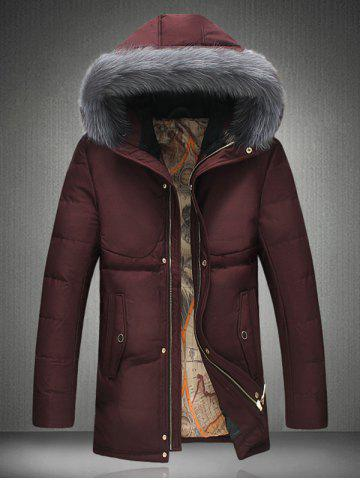 Furry Hood Thicken Padded Zip Up Down Coat - Red - M