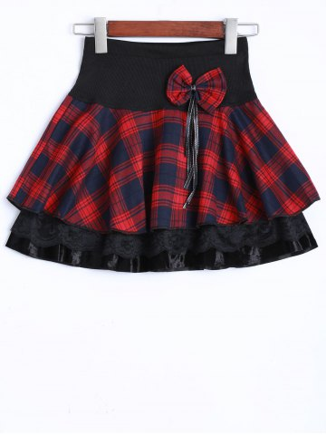 Unique Bowknot Embellished Plaid Skirt