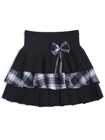 Best Tiered Bowknot Embellished Plaid Skirt