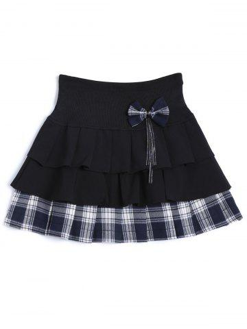 Fancy Plaid Tiered Bowknot Embellished Skirt
