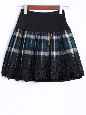 Shop Plaid Lace Insert Mini Skirt