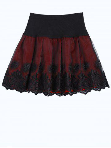 Trendy Elastic Waist Embroidered A Line Skirt