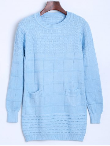 Fashion Crew Neck Cable Knit Sweater with Pocket