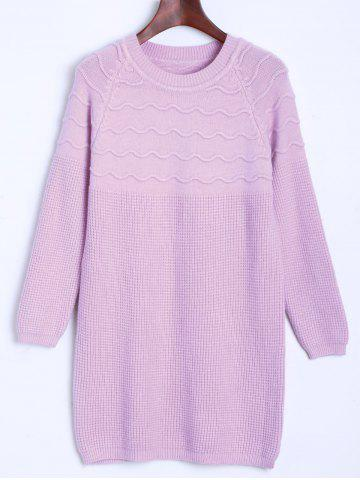 Outfit Raglan Longline Sweater with Wavy Knit LIGHT PURPLE ONE SIZE