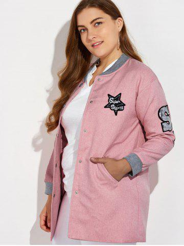 Buy Plus Size Number Patched Bomber Jacket - 3XL PINK Mobile
