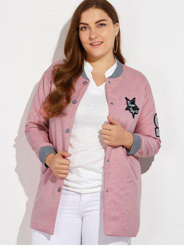 Trendy Plus Size Number Patched Bomber Jacket - 3XL PINK Mobile