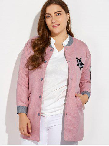 Fancy Plus Size Number Patched Bomber Jacket - 3XL PINK Mobile