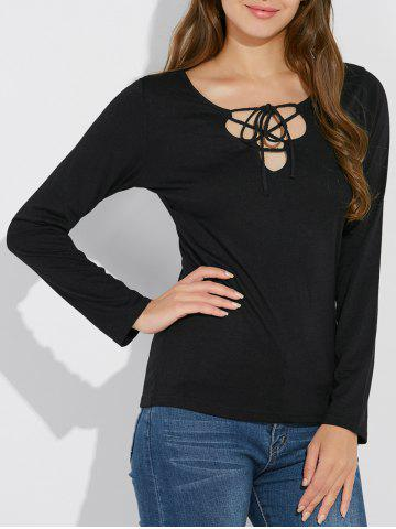 Chic Long Sleeve Lace Up T Shirt