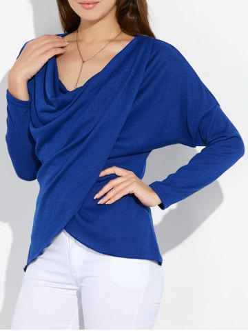 Outfit Dolman Sleeve Ruched Tulip Tee BLUE XL